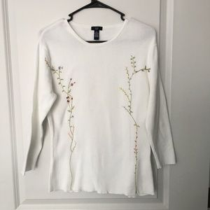 Gap White Embroidered Sweater Size L 100% Cotton